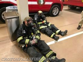 Firefighter relax to conserve air