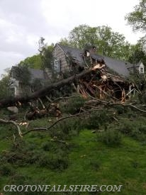 A home on Mills Road sustained damage from a fallen tree.  There were no injuries.