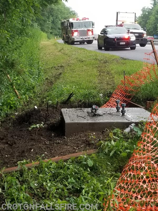 A driver went off I-684 with such force bolts anchored in concrete almost were sheared off the pad.