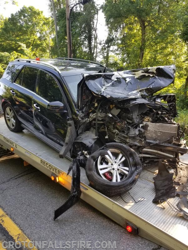 One of two vehicles involved in a crash on Rt. 22 between the I-684 overpass and the Croton Falls firehouse.