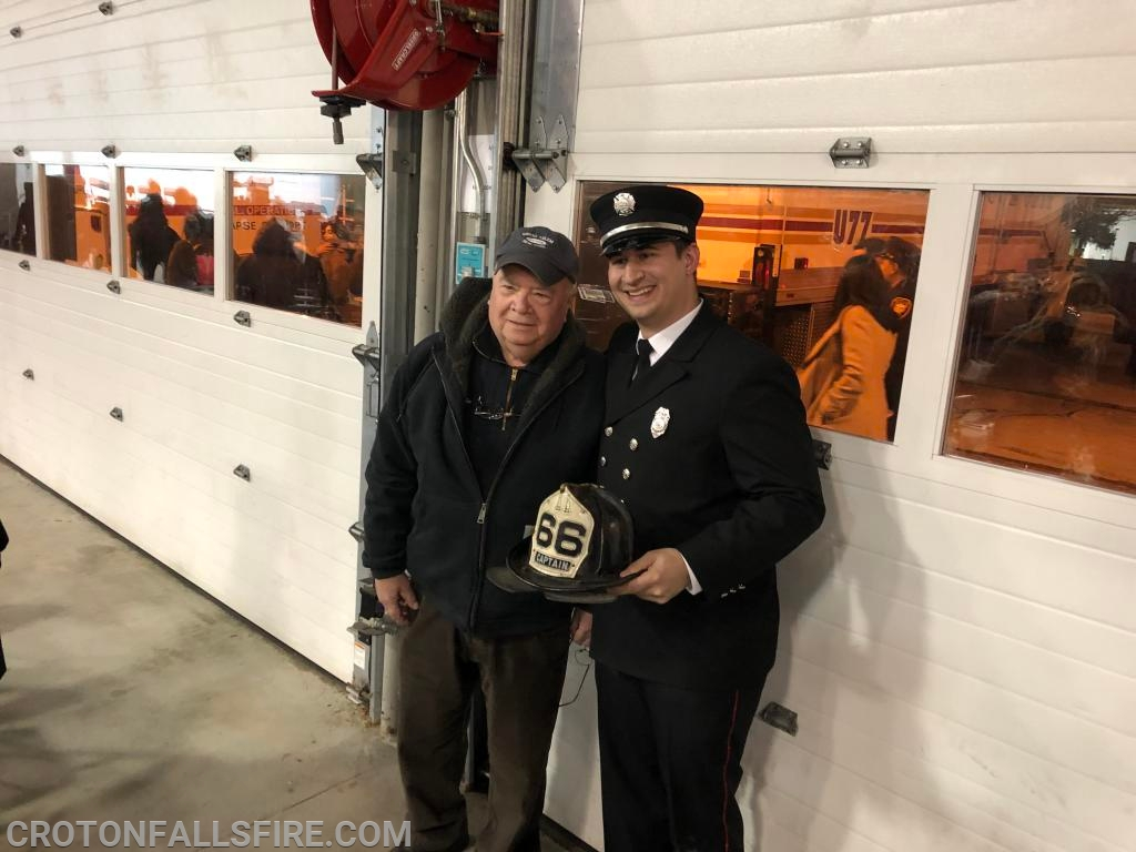 Firefighter Quaglino poses with his grandfather, Captain Sheerin (retired from FDNY, E-66).