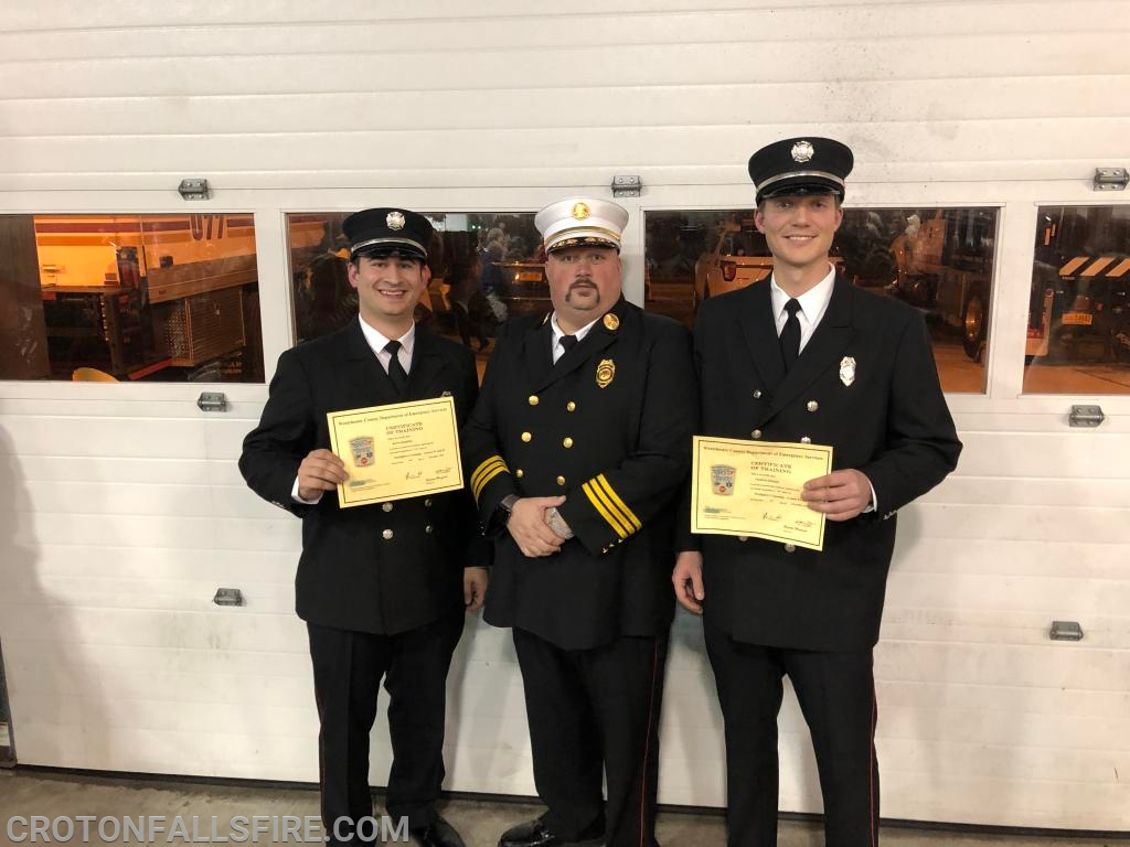 Assistant Chief Daday with Firefighters Quaglino and Ekholm.